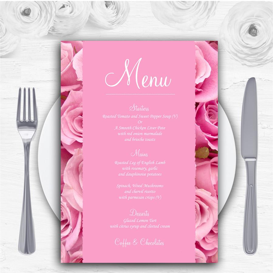Pretty Pink Roses Personalised Wedding Menu Cards