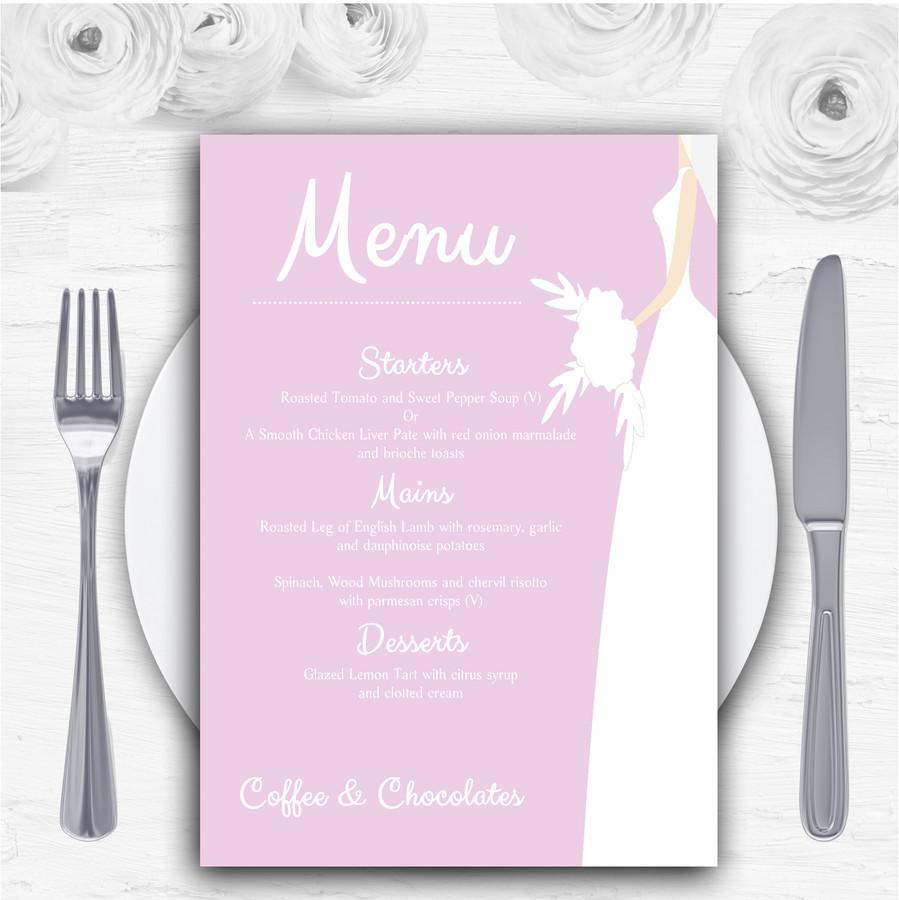 Pink Bride Personalised Wedding Menu Cards