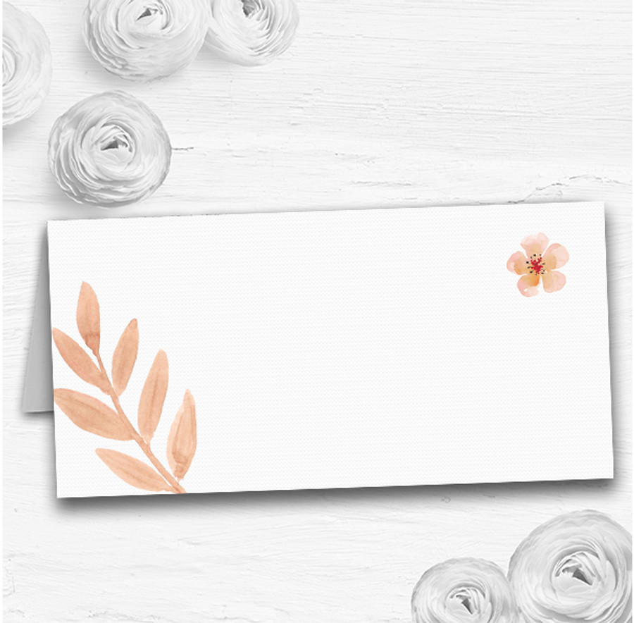 Watercolour Subtle Coral Pink Peach Wedding Table Seating Name Place Cards