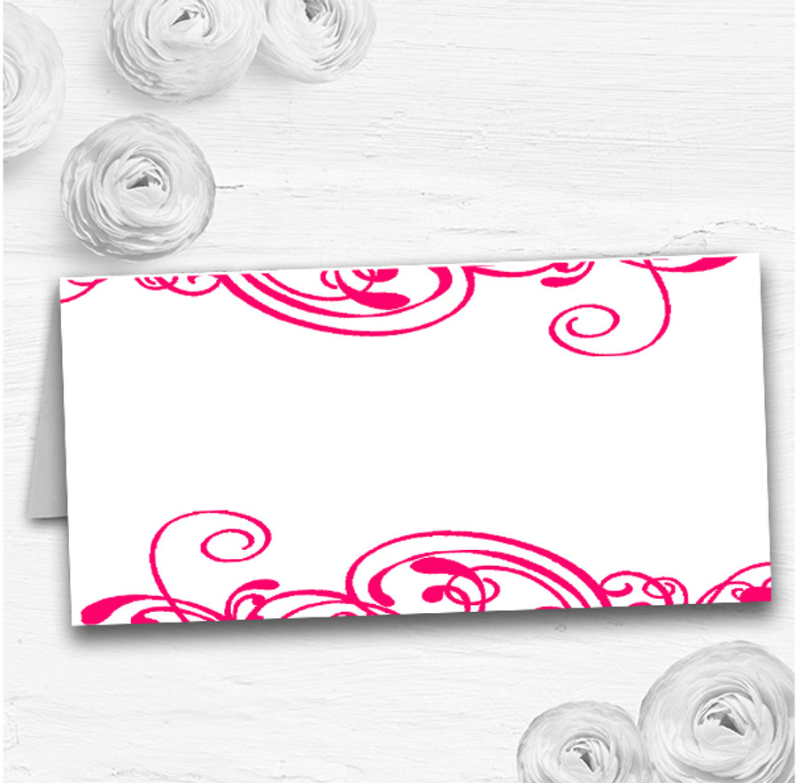 White & Pink Swirl Deco Wedding Table Seating Name Place Cards