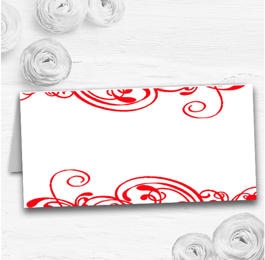 White & Red Swirl Deco Wedding Table Seating Name Place Cards