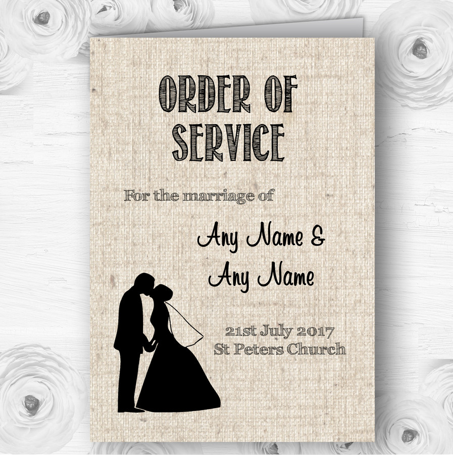 Cotton Chic Personalised Wedding Double Sided Cover Order Of Service