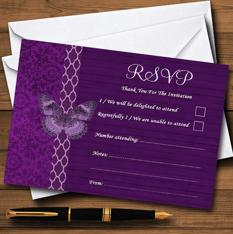 Rustic Vintage Wood Butterfly Purple RSVP Cards