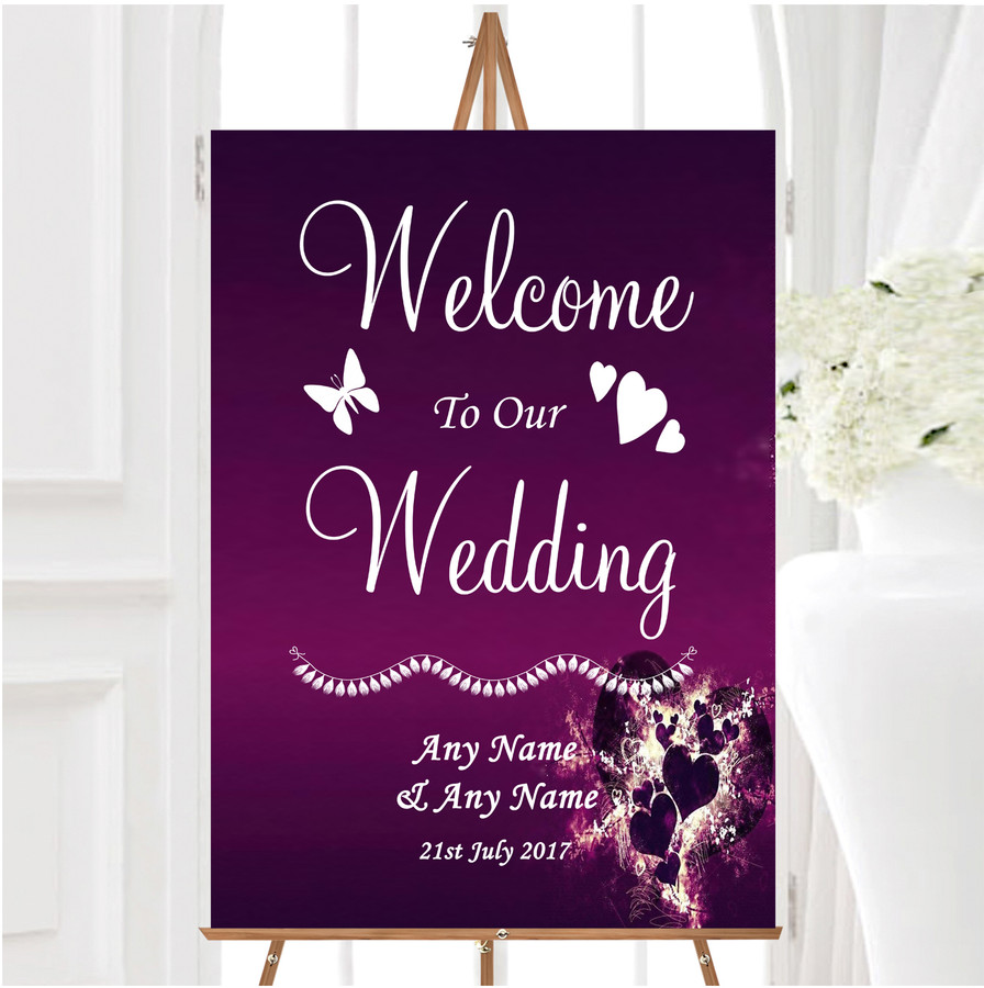 Purple Hearts Romantic Personalised Any Wording Welcome To Our Wedding Sign