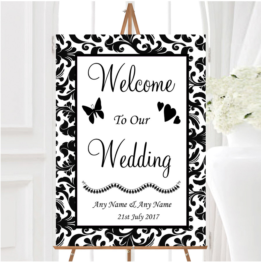 Black White Damask Personalised Any Wording Welcome To Our Wedding Sign