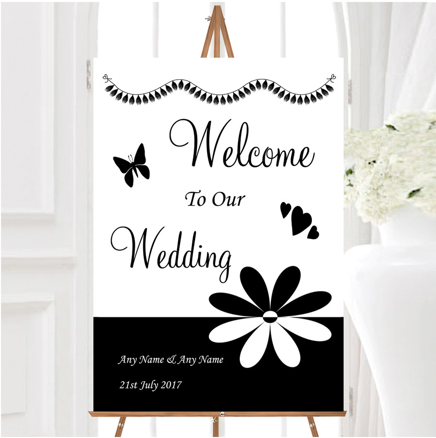 Black White Flower Personalised Any Wording Welcome To Our Wedding Sign