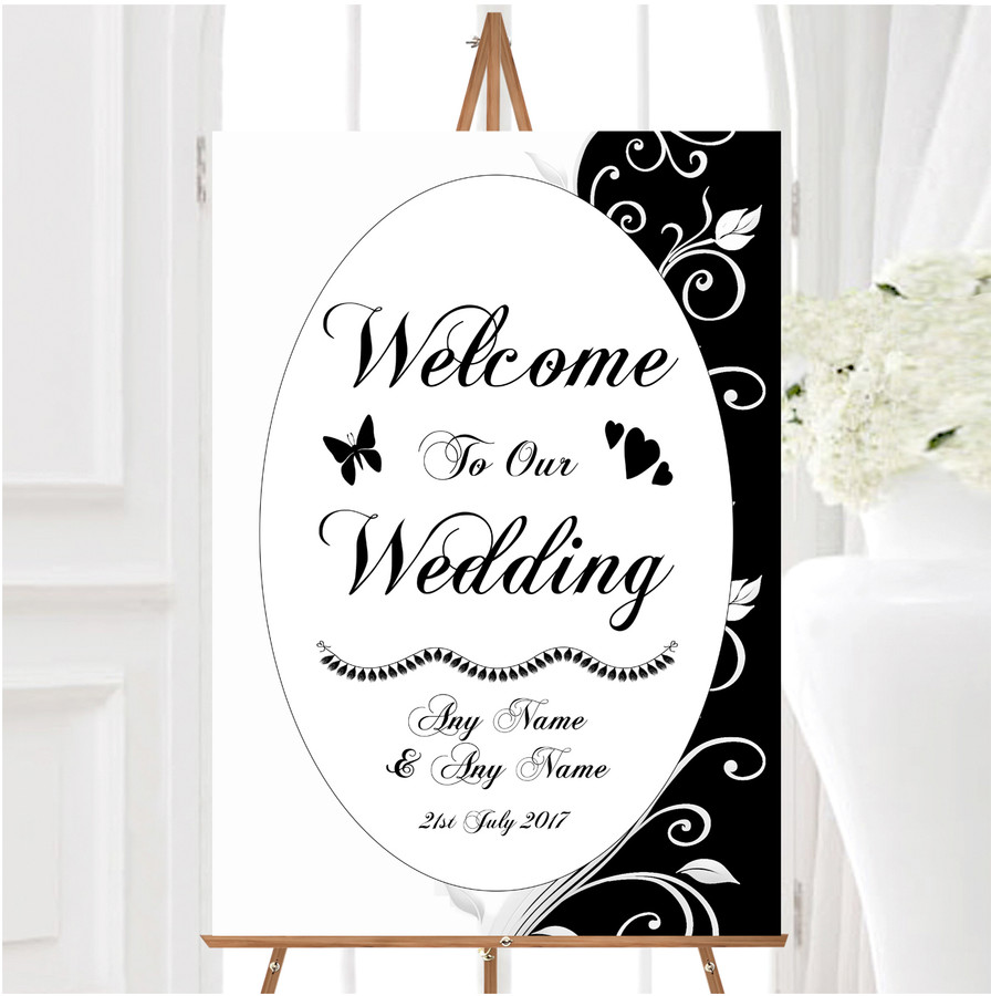 White Black Scroll Personalised Any Wording Welcome To Our Wedding Sign