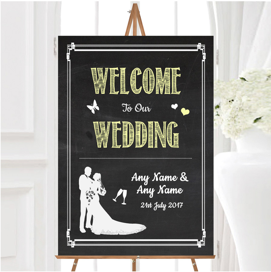 Chalkboard Yellow Personalised Any Wording Welcome To Our Wedding Sign