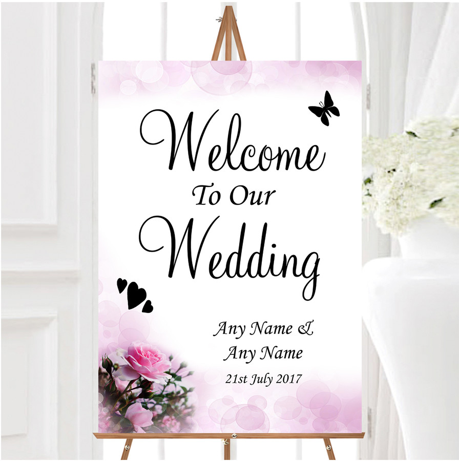 Pink Rose Bubbles Personalised Any Wording Welcome To Our Wedding Sign