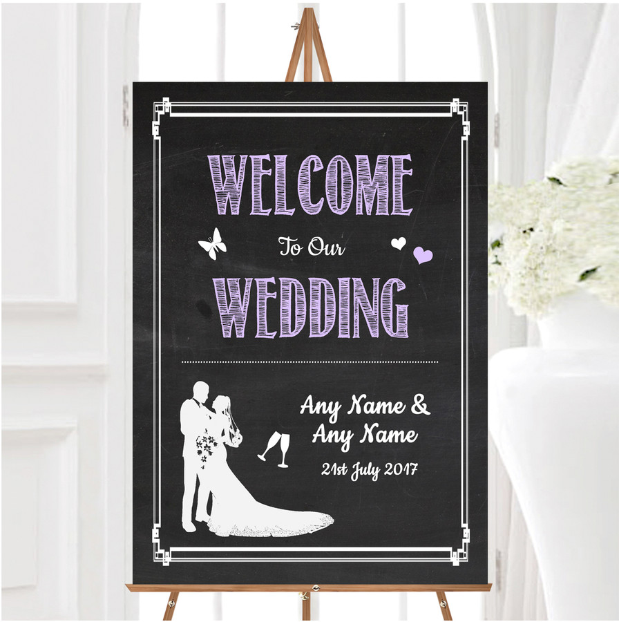 Chalkboard Lilac Personalised Any Wording Welcome To Our Wedding Sign