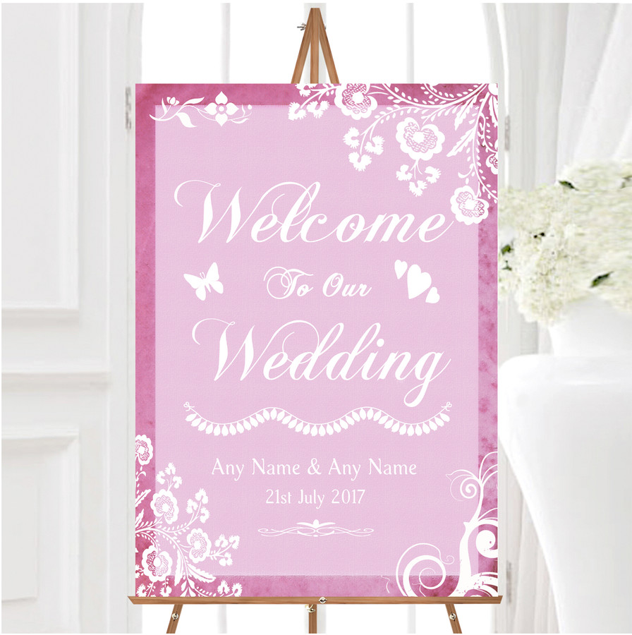 Rustic Pink Lace Personalised Any Wording Welcome To Our Wedding Sign