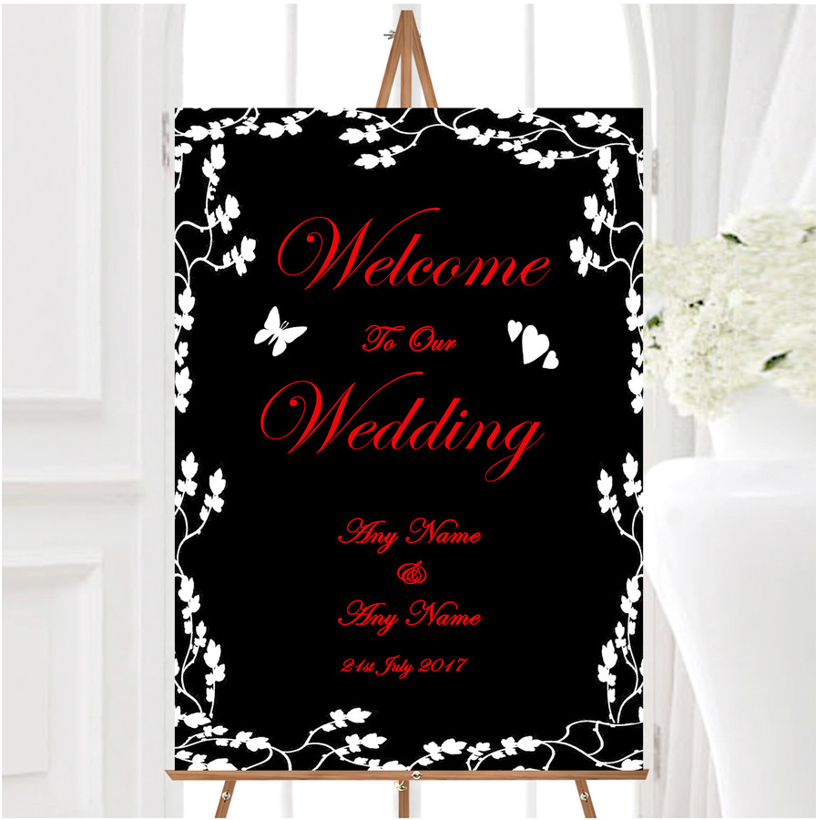 Black White Red Personalised Any Wording Welcome To Our Wedding Sign