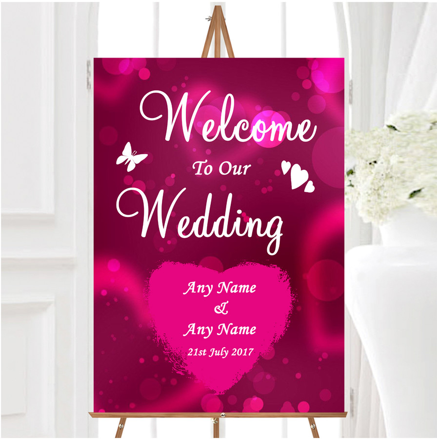 Hot Pink Hearts Personalised Any Wording Welcome To Our Wedding Sign