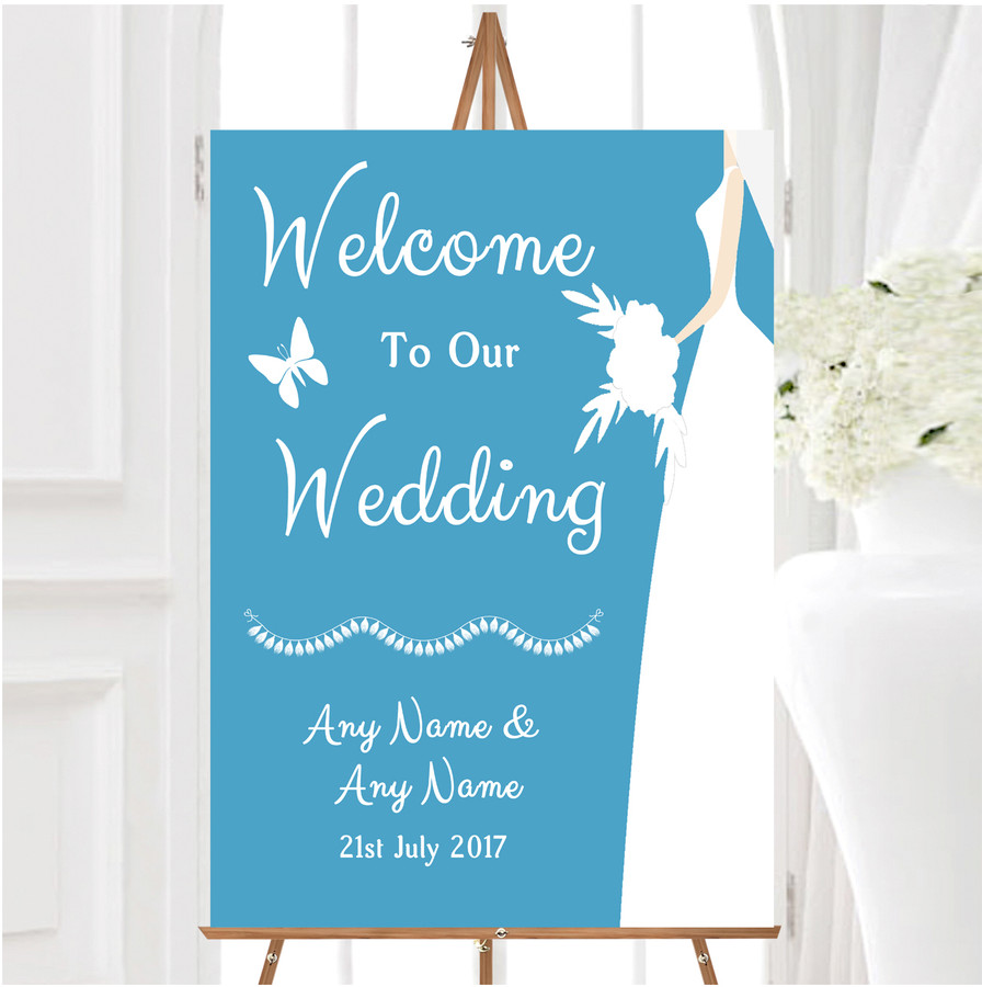 Turquoise Bride Personalised Any Wording Welcome To Our Wedding Sign