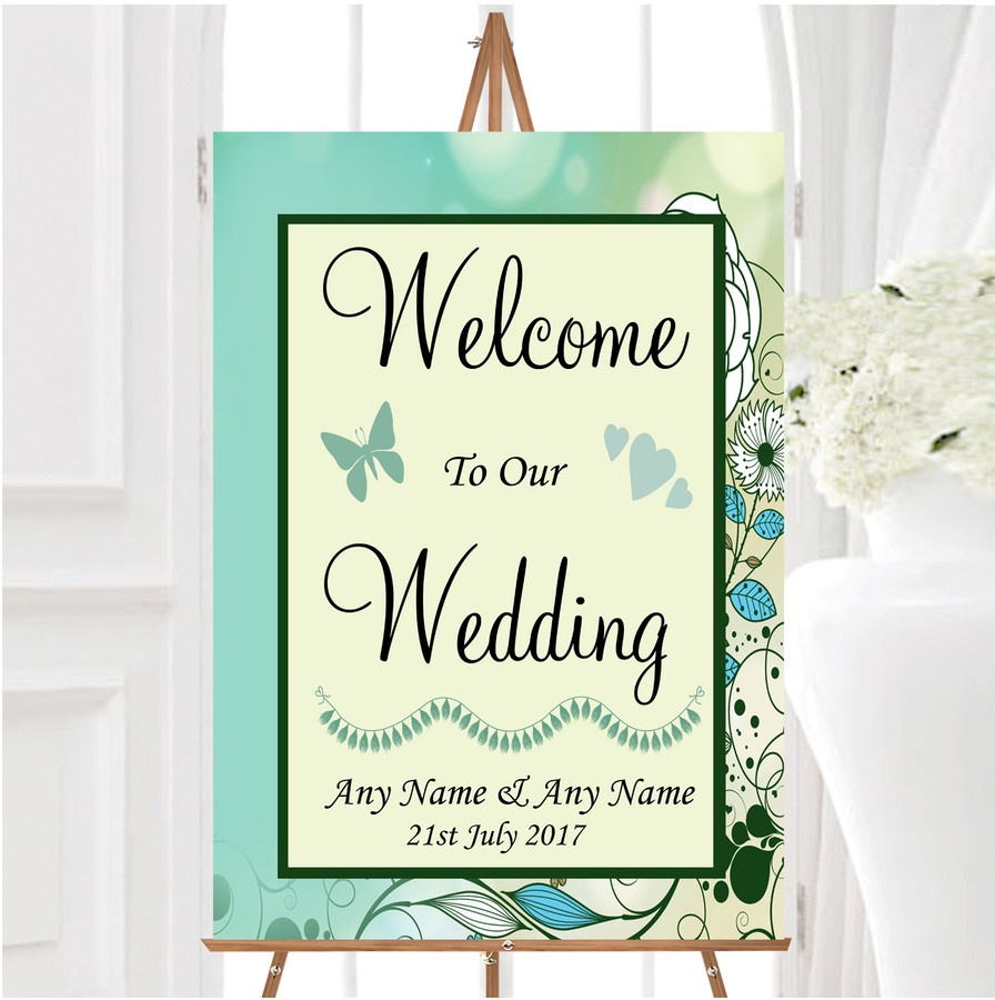 Aqua Turquoise Personalised Any Wording Welcome To Our Wedding Sign