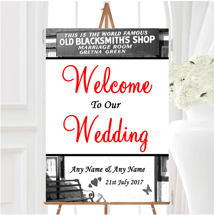 Gretna Green Personalised Any Wording Welcome To Our Wedding Sign