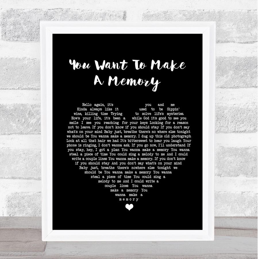 Bon Jovi You Want To Make A Memory Black Heart Song Lyric Quote Print