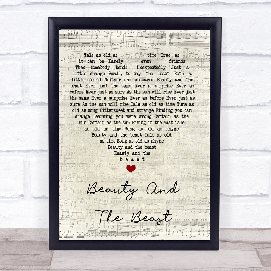 Angela Lansbury Beauty And The Beast Script Heart Song Lyric Quote Print