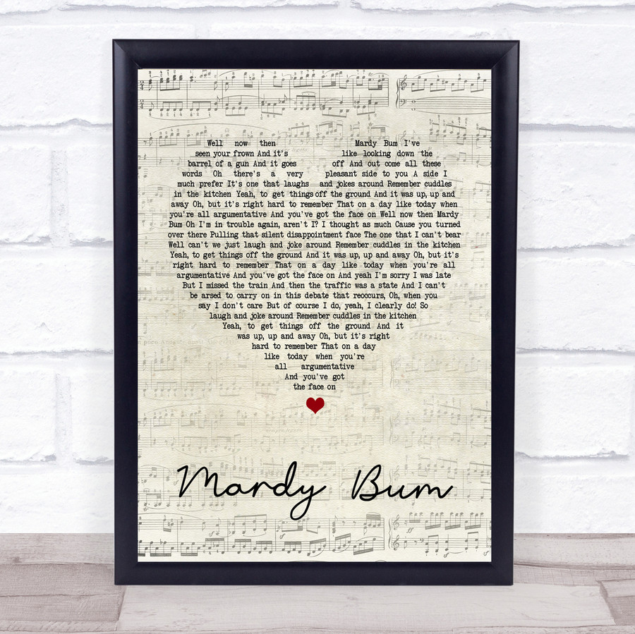Arctic Monkeys Mardy Bum Script Heart Song Lyric Quote Print