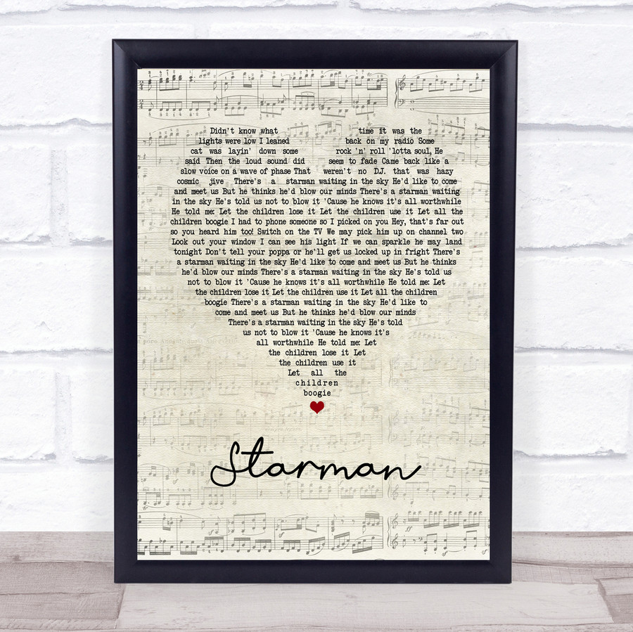 David Bowie Starman Script Heart Song Lyric Quote Print