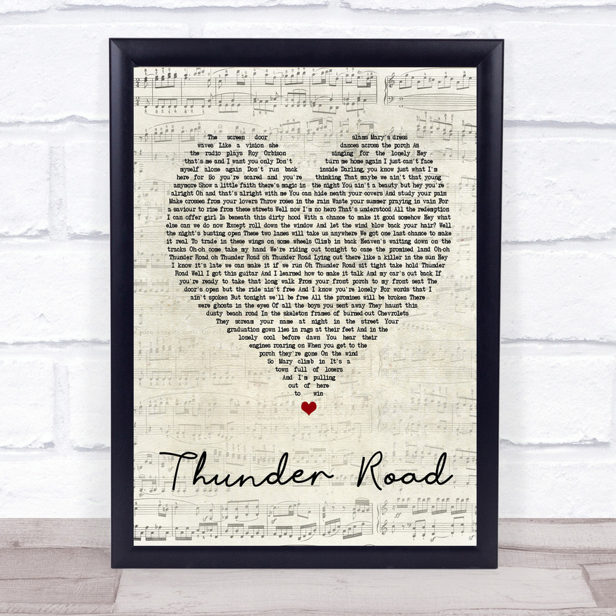 Bruce Springsteen Thunder Road Script Heart Song Lyric Quote Print