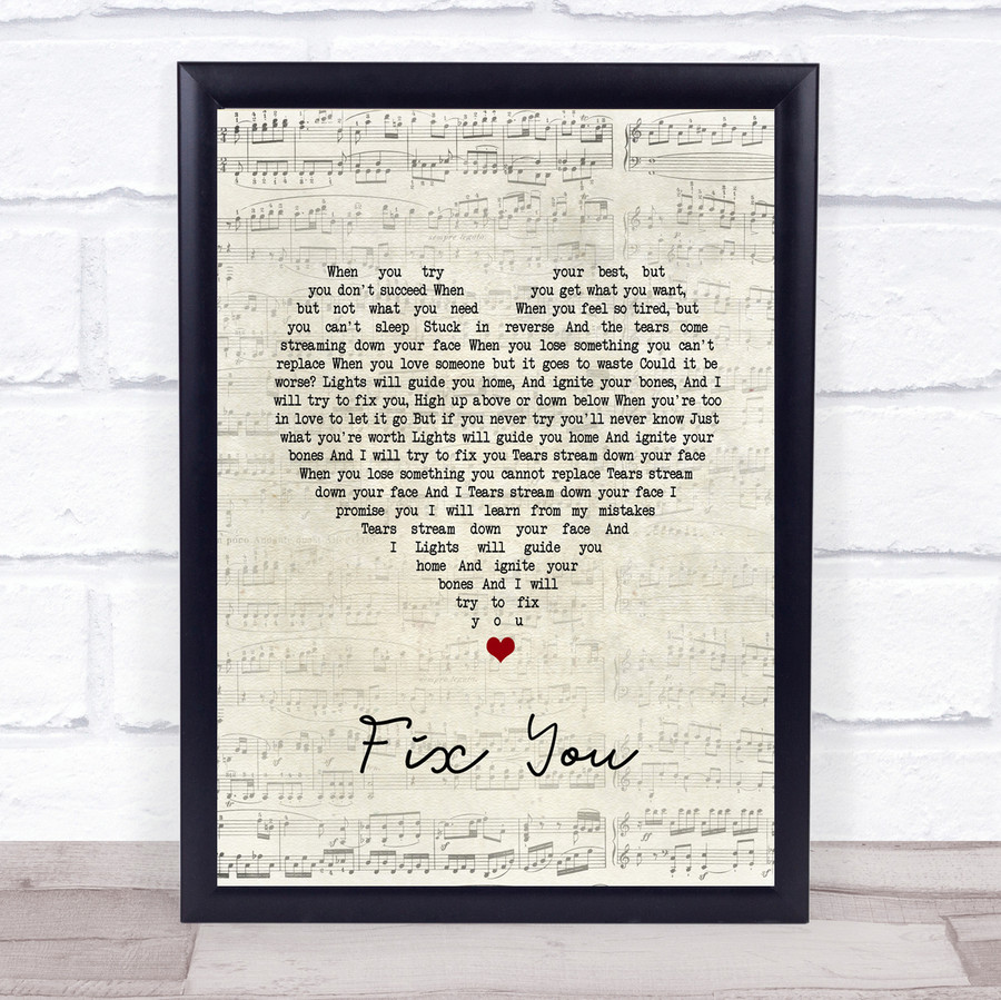Coldplay Fix You Script Heart Song Lyric Quote Print