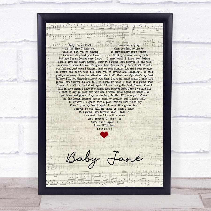 Rod Stewart Baby Jane Script Heart Quote Song Lyric Print