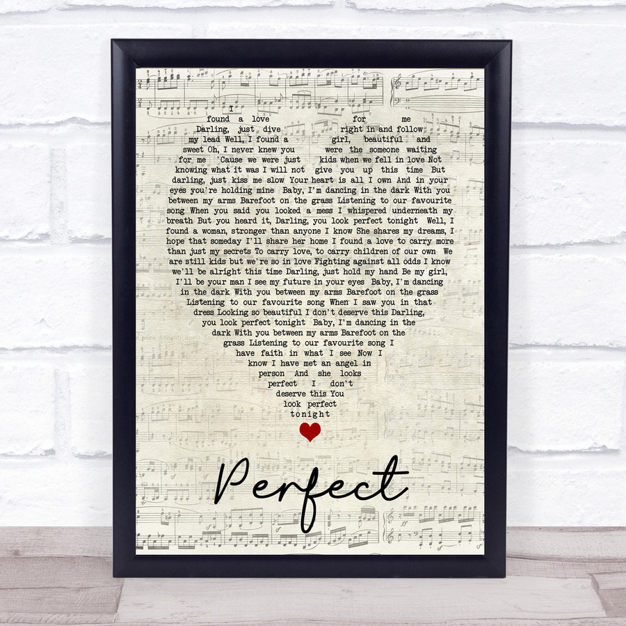 Perfect Ed Sheeran Script Heart Quote Song Lyric Print