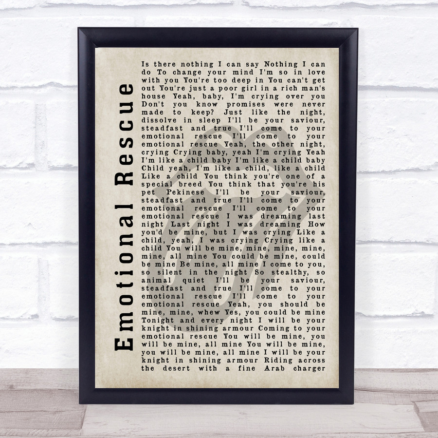 The Rolling Stones Emotional Rescue Shadow Song Lyric Quote Print