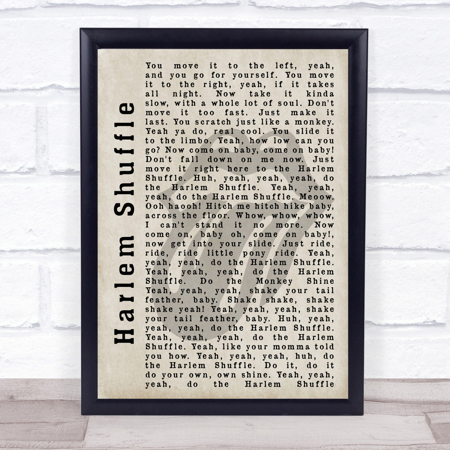 The Rolling Stones Harlem Shuffle Shadow Song Lyric Quote Print