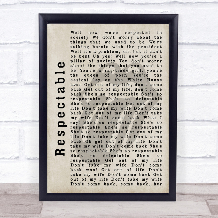 The Rolling Stones Respectable Shadow Song Lyric Quote Print