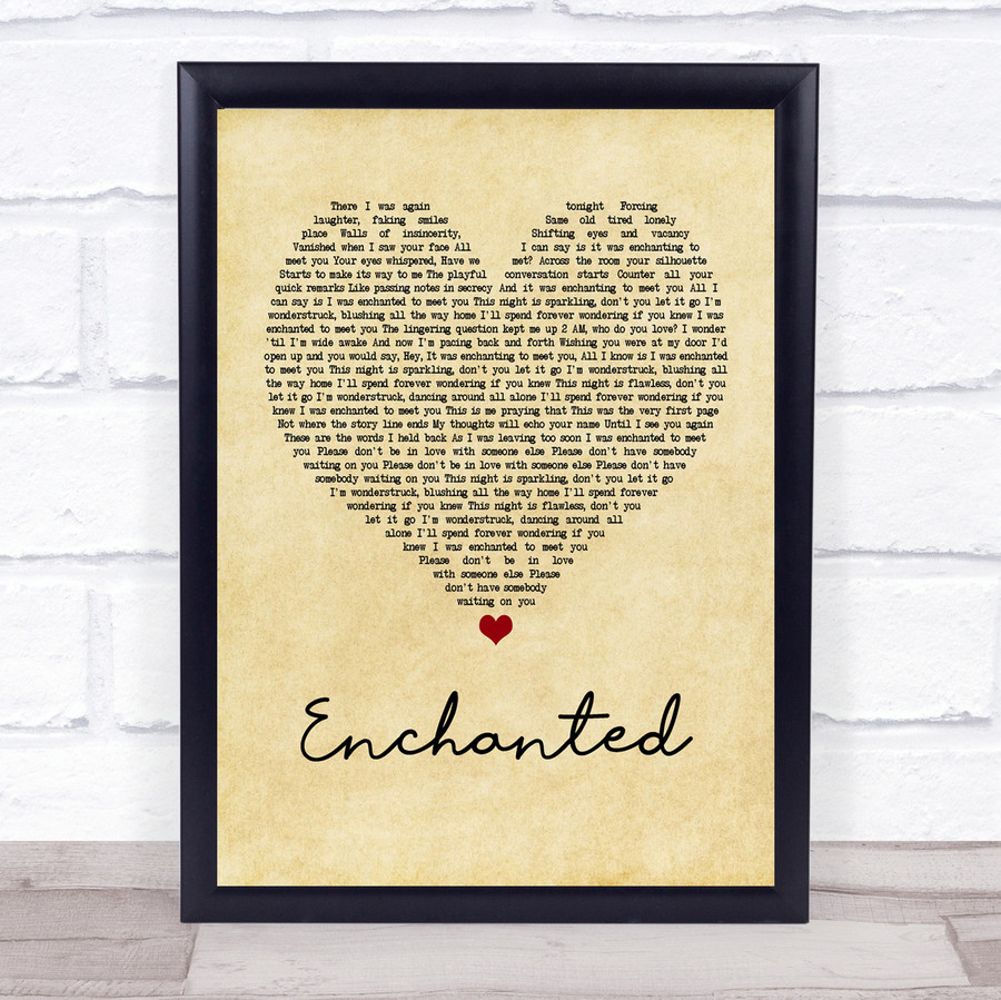 Taylor Swift Enchanted Vintage Heart Quote Song Lyric Print