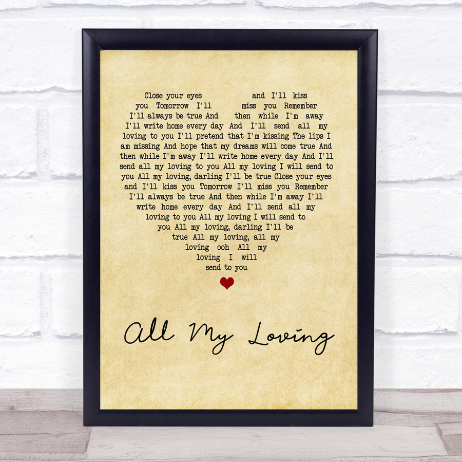 The Beatles All My Loving Vintage Heart Quote Song Lyric Print
