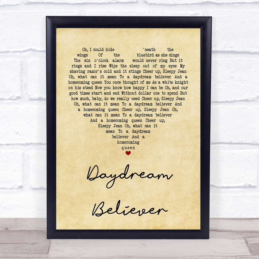 The Monkees Daydream Believer Vintage Heart Quote Song Lyric Print