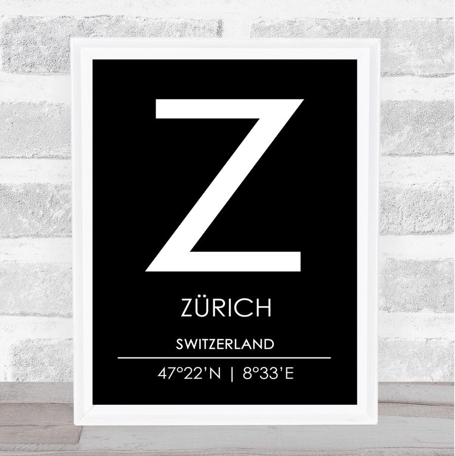 Zurich Switzerland Coordinates Black & White Travel Print