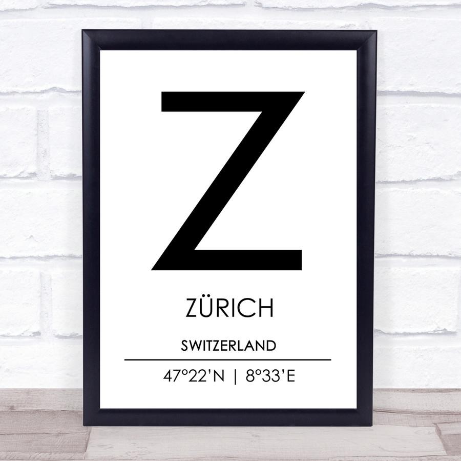 Zurich Switzerland Coordinates Travel Print