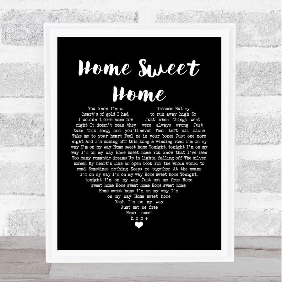 Motley Crue Home Sweet Home Black Heart Music Gift Poster Print