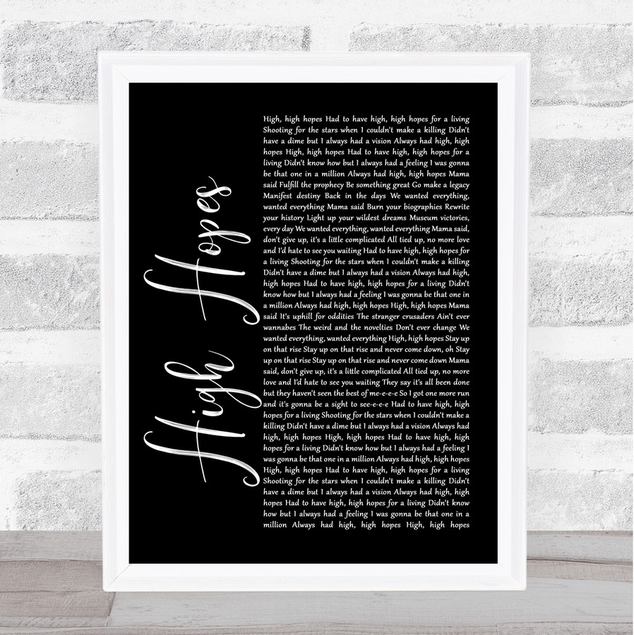 Panic! At The Disco High Hopes Black Script Music Gift Poster Print