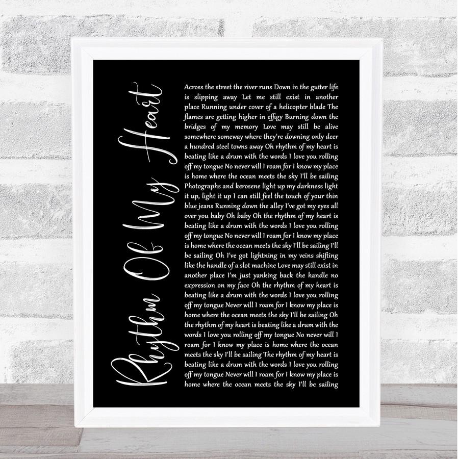 Rod Stewart Rhythm Of My Heart Black Script Music Gift Poster Print