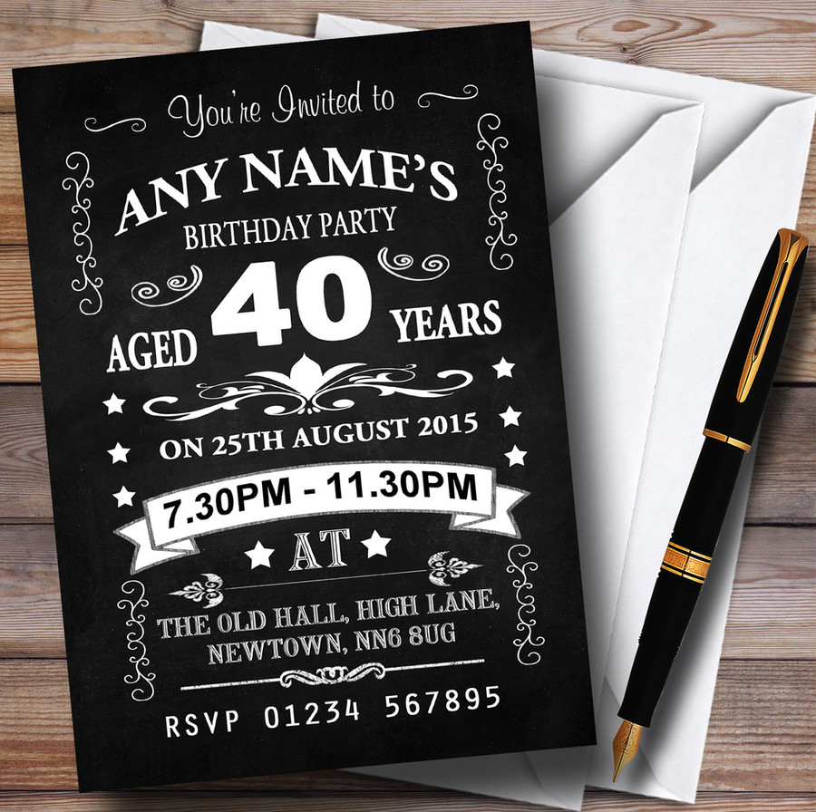 Vintage Chalkboard Style Black And White 40Th Birthday Party Customised Invitations