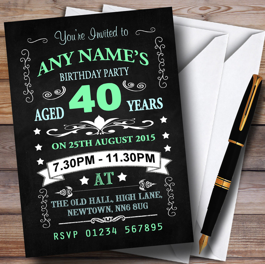 Vintage Chalkboard Style Green And Blue 40Th Birthday Party Customised Invitations