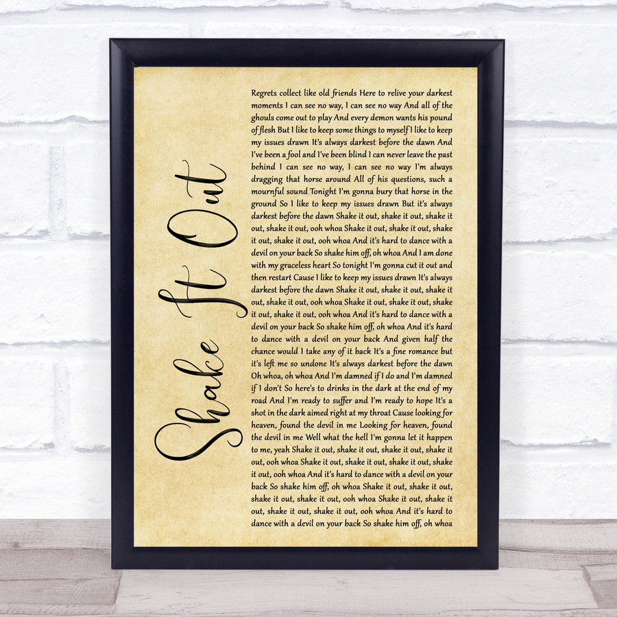 Florence + The Machine Shake It Out Rustic Script Music Gift Poster Print