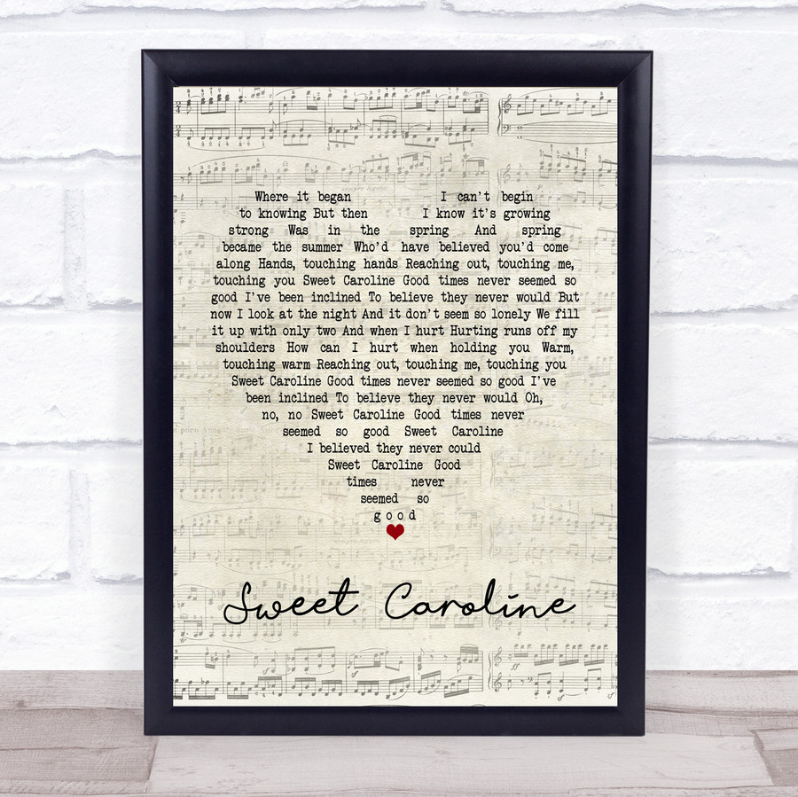 Neil Diamond Sweet Caroline Script Heart Music Gift Poster Print