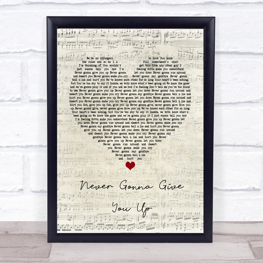 Rick Astley Never Gonna Give You Up Script Heart Music Gift Poster Print