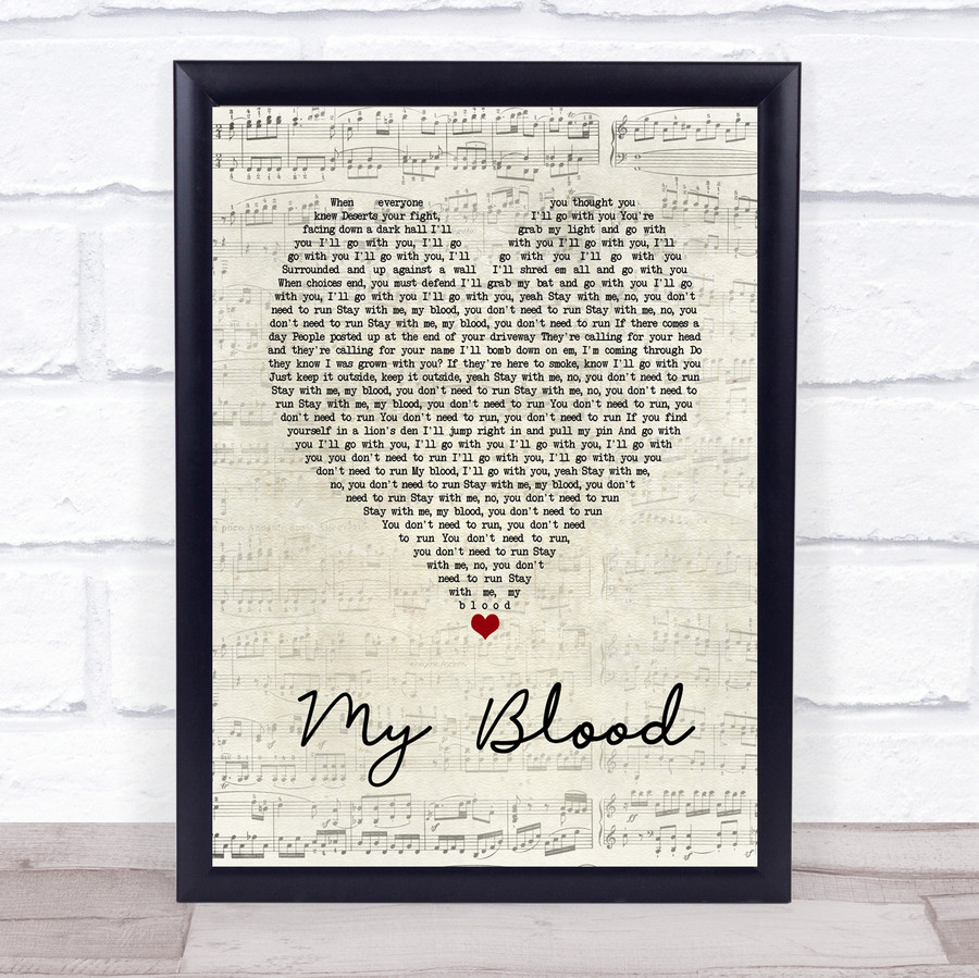 Twenty One Pilots My Blood Script Heart Song Lyric Music Gift Poster Print