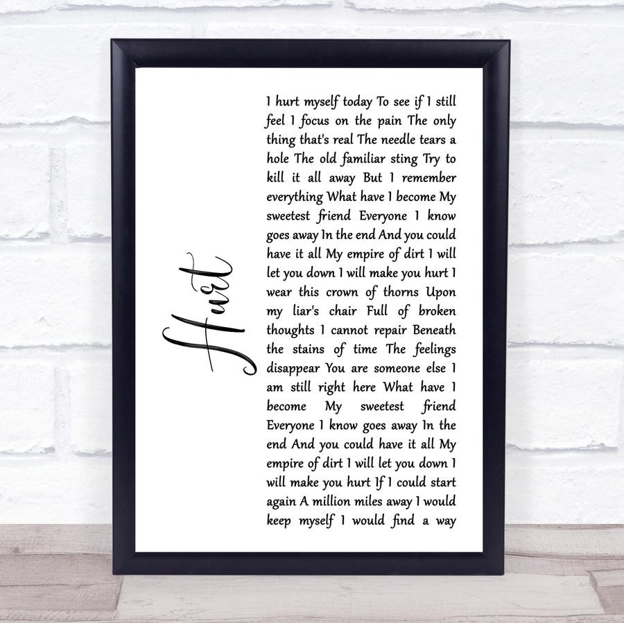 Johnny Cash Hurt White Script Song Lyric Music Gift Poster Print