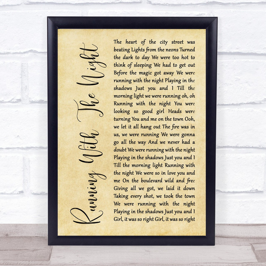 Lionel Richie Running With The Night Rustic Script Song Lyric Music Gift Poster Print