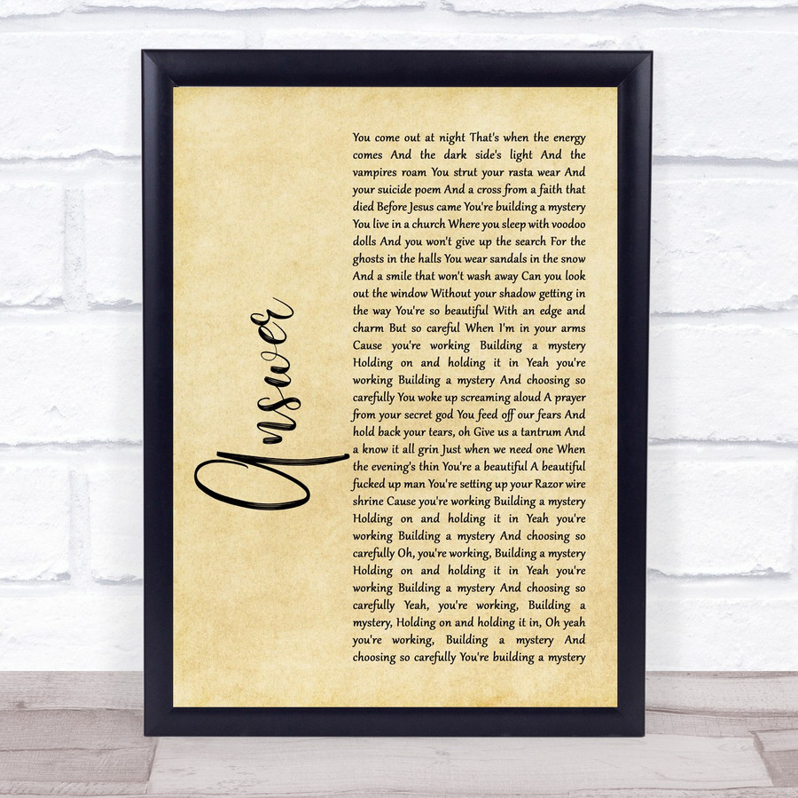 Sarah McLachlan ANSWER Rustic Script Song Lyric Music Gift Poster Print