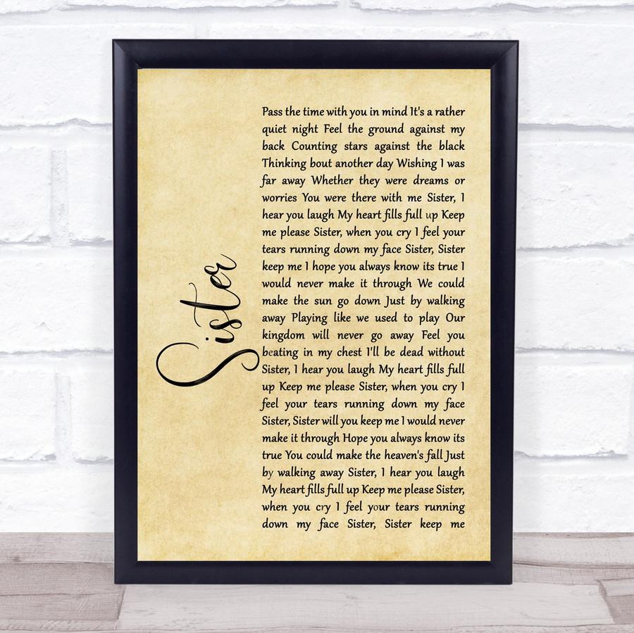 Dave Matthews Sister Rustic Script Song Lyric Music Gift Poster Print