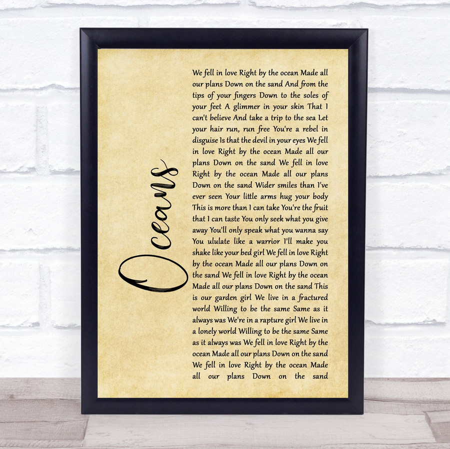 Coasts Oceans Rustic Script Song Lyric Music Gift Poster Print
